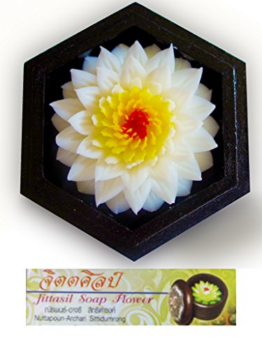 (Jittasil Thai Hand-Carved Soap Flower, 4 Inch Scented Soap Carving Gift-Set, White Lotus In Decorative Hexagonal Pine Wood Case)