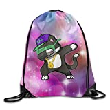 LANGEGE Hip Hop Dabbing Panda Outdoor Sport Gym Sack Drawstring Backpack Bag Unisex