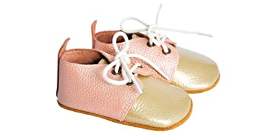 Ami Peluche Baby Girl Genuine Leather Oxford Lace up Shoes,Suede Soles,Soft Soles