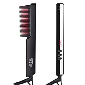 Ionic Hair Straightener Brush, DreamCatching Beard Straightener Comb with Anti-Scald, 30s Fast Ceramic Heating, 6 Heat Levels, Temperature Lock/Auto-off, Frizz-Free, Portable Straightening Comb