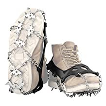 ENKEEO Ice Cleats 18 Stainless Steel Spikes Crampons Traction Cleats for Winter Walking Fishing Hiking on Snow and Ice,M/L/XL