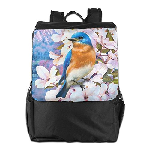 Outdoors Flowers Shoulder Beautiful Birds Dayback With School Travel Camping Personalized Women Men HSVCUY Storage For Adjustable Blue And Backpack Strap qf5nxR7B