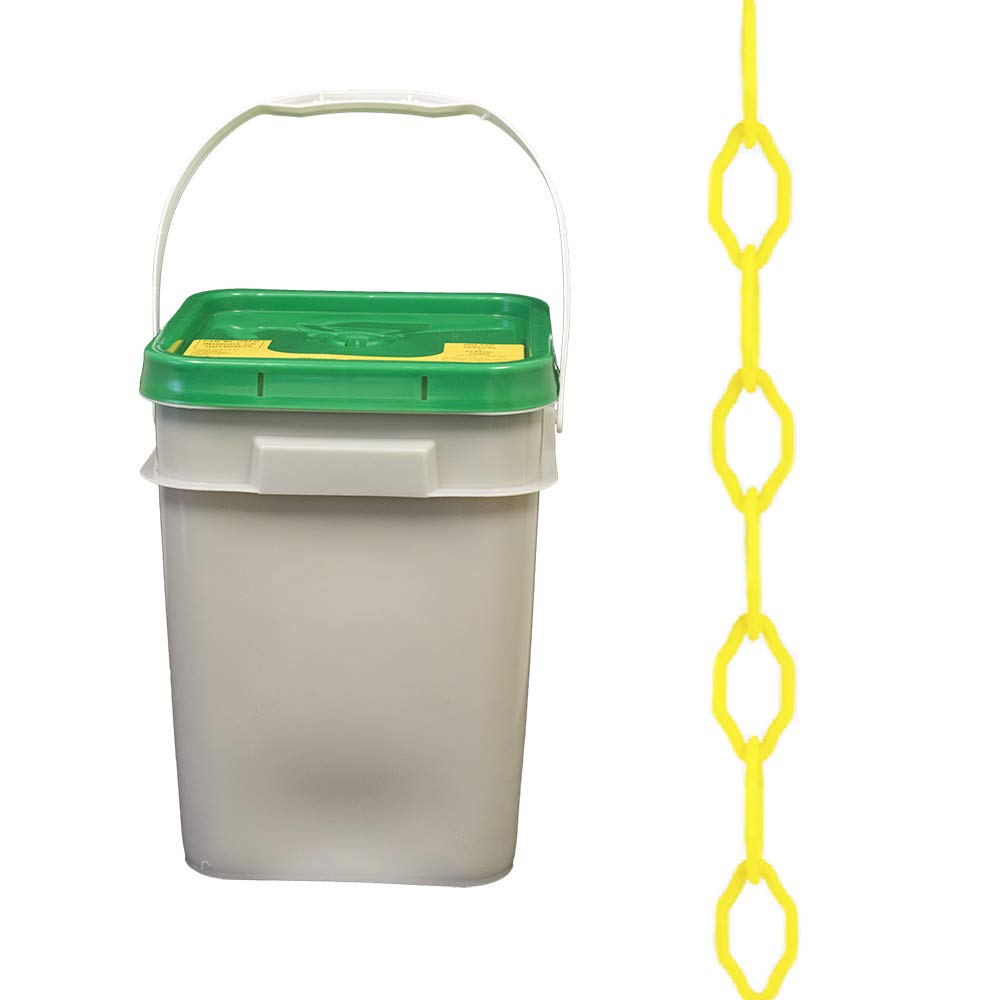 Mr. Chain Gothic Plastic Barrier Chain Pail, Yellow, 2-Inch Link Diameter, 280-Foot Length (53002-P)