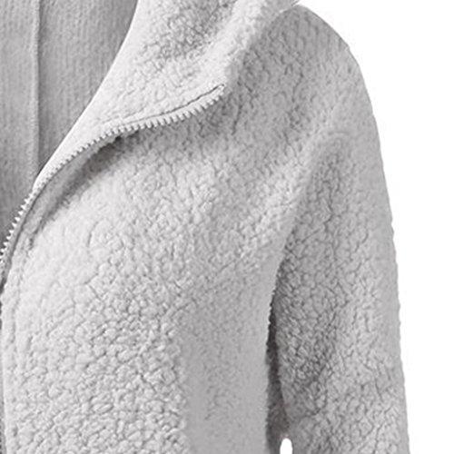 Invierno para Chaqueta las Chaqueta KaloryWee lana de con Algodón Claro Cálida Mujeres Gris Capucha de Cremallera Abrigo Mujer YWdqEE6w