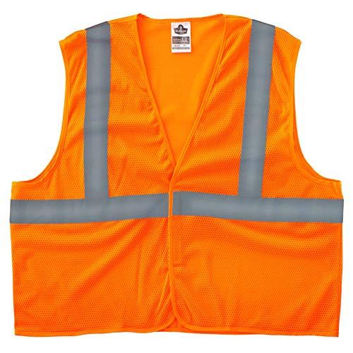 (Ergodyne GloWear 8205HL Reflective Safety Vest, High Visibility Orange Mesh, Type R Class 2, Hook & Loop Closure, 2XL/ 3XL)