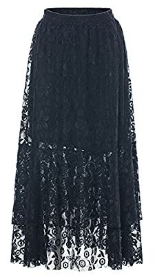 Chartou Women's Sweet Elastic-Waist Asymmetric Floral Laced A-Line Layered Long Flare Skirts