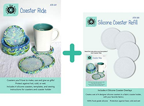 Bundle of Coaster Ride Pattern with Silicone Coaster Inserts (ATB-187), and Silicone Coaster Refill Set (ATB-188); a Total of 8 Silicone Coaster Inserts