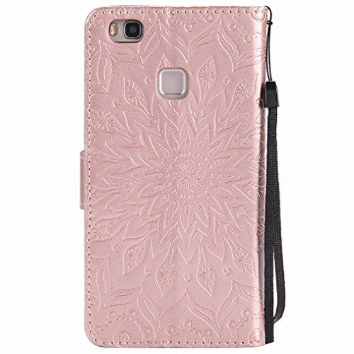 Yiizy Huawei P9 lite Custodia Cover, Sole Petali Design Sottile Flip Portafoglio PU Pelle Cuoio Copertura Shell Case Slot Schede Cavalletto Stile Libro Bumper Protettivo Borsa (delloro della Rosa)