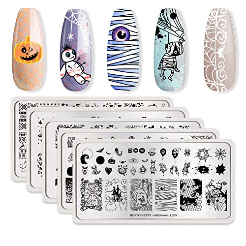 Pretty Halloween Nails (BORN PRETTY Nail Art Stamp Templates Halloween Christmas Flower Spring Garden Stamping Image 5Pcs Rectangle Stamp Plates)