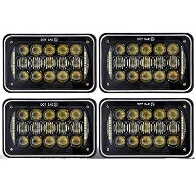 COWONE 60W Cree 4X6 inch Rectangular LED Headlights for H4651 H4652 H4656 H4666 H6545 Freightliner Kenworth Peterbilt International Volvo Sterling Western Star Mack(4Pcs): Automotive