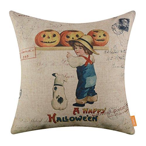 LINKWELL 18x18 inches A Happy Halloween Kid and Pumpkin Burlap Throw Cushion Cover Pillowcase CC1373]()