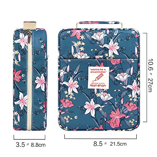 202 Colored Pencils Pencil Case - 136 Color Gel pens Pen Bag or Marker Organizer - Universal Artist Use Supply Zippered Large Capacity Slot Super Big Professional Storage qianshan Lily Flower