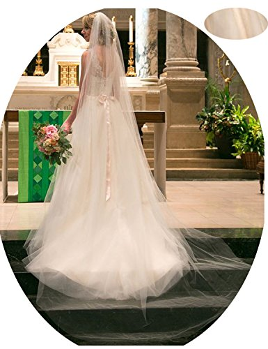Affordable Wedding Veils - Belle House Women's Long Tulle Sheer Wedding Champagne Bridal Veils Cathedral for Bride