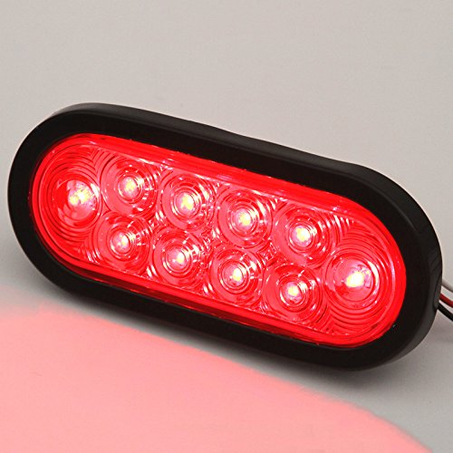 6-Trailer-Truck-LED-Sealed-RED-6-Oval-StopTurnTail-Light-Marine-Waterproof