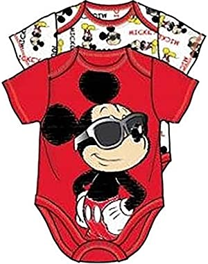 Disney Mickey Mouse Sunglasses Face Baby 2 Pack Infant Creeper Romper Set