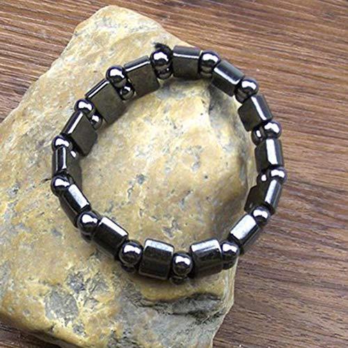 CHANNIKO-FR Natural Black Stone Magnetic Therapy Bracelet Health Care Magnetic Hematite Stretchy Unisex Bracelet for Men Women