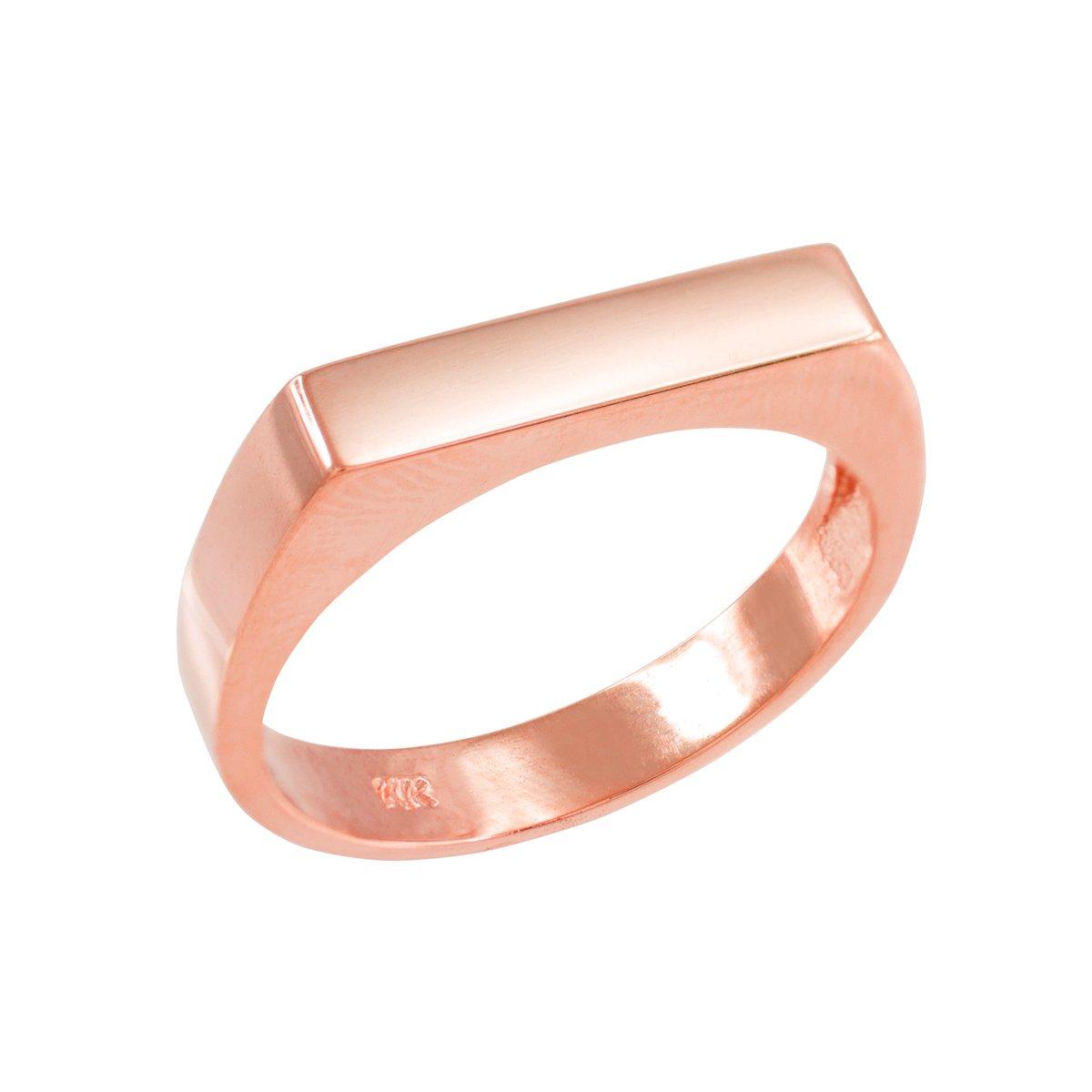 Stackable 10k Rose Gold Custom Engravable Flat Top Signet Ring (Size 7)