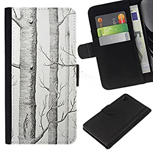 Planetar® Modelo colorido cuero carpeta tirón caso cubierta piel Holster Funda protección Para Sony Xperia Z4 / Sony Xperia Z4V / E6508 ( Dibujo Árbol Blanco Arte Lápiz)