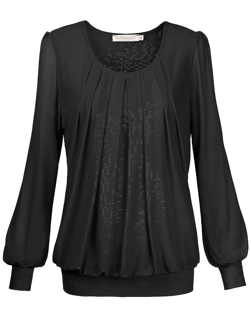BAISHENGGT - Blusa para Mujer con Cuello Redondo y Manga Larga, Plisada en la Parte Delantera de Malla