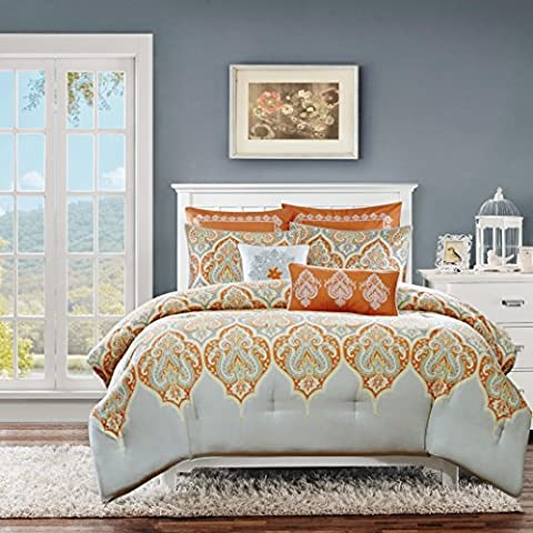 Madison Park Beautiful Cotton Modern Paisley Orange Reversible Solid Bedding Full/Queen Comforter (7 Piece in a - Black Lacquer Full Futon Frame