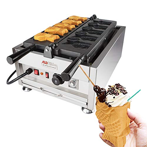 ALDKitchen Open Mouth Fish Waffle Maker | Stainless Steel Professional Taiyaki Waffle Iron with Nonstick Baking Molds | Five Fish Shaped Ice Cream Cones | 110V | 3kW