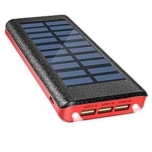 Batería Externa Power Bank 24000mAh , Cargador Solar de OLEBR con puerto de alta velocidad, 2 LED ligeros, 3 puertos de carga USB de alta velocidad-Red