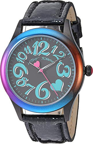 Betsey Johnson Women's BJ00701-02 - Rainbow Case & Black Strap Watch Black One Size (Betsey Johnson Watch Bracelet)