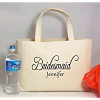 """Personalized BRIDE, BRIDESMAIDS Gift Canvas Beach Tote with Name, Rustic Wedding, Beach Wedding, Barn Wedding, Party Gift Bag, Size is 18"""" wide and 11.25"""" tall with 10"""" drop handles"""