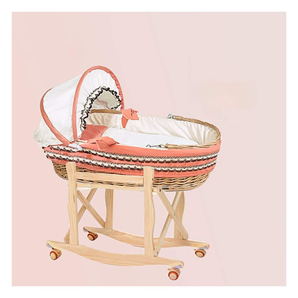 HLR-Crib Travel Crib Travel Portable Bamboo Fiber Material Can Be Car Folding Bracket Dual-use Cradle (Size : H) by HLR