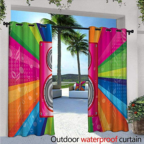 BlountDecor Vintage Rainbow Patio Curtains W72 x L108 Discotheque Pop Party of The 60s 70s Theme Musical Notes and Pink Stereo Outdoor Curtain for Patio,Outdoor Patio Curtains Multicolor ()