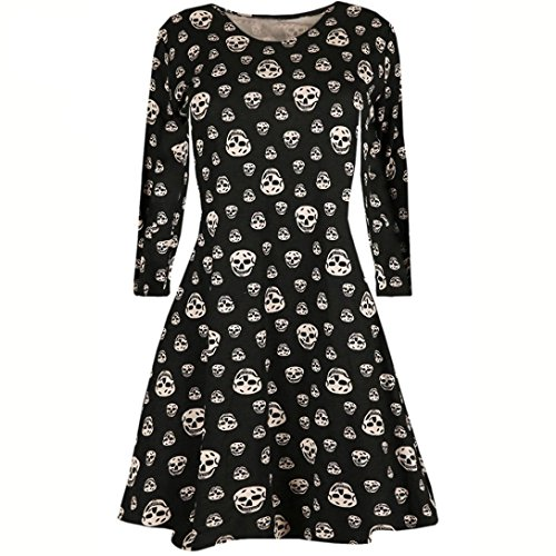 Womens Dress,FUNIC Ladies Halloween Skull Printed Long Sleeve Party Mini Dress (S, Black)