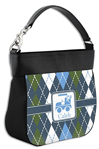Front w amp; Back Blue Personalized Hobo Genuine Argyle Leather Trim Purse qwtAg80