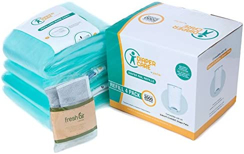 4 Pack Diaper Refill Liners - CompatibleDekor CLASSIC Refill - Disposable Diaper Pail Liners Hold Up To 2000 Diapers ? Baby Scented RefillsNatural Bamboo Charcoal Smell Eliminator Bags