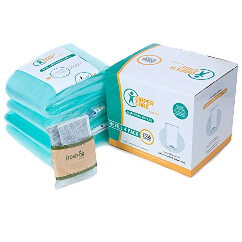 4 Pack Compatible for Dekor CLASSIC Refill - 4 Pack - Disposable Diaper Pail Liners Hold Up To 2000 Diapers + BONUS Bamboo Charcoal Odor Smell Eliminator Bags + FREE Potty Training Secrets Ebook (Dekor Diaper Pail)