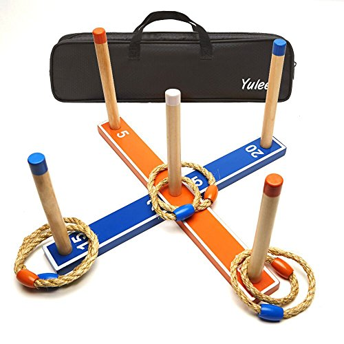 Yuleee Ring Toss Games Set-Great Party Game Beach Game for Family and kids or Gift for Adults and for Kids to improve Eye-Hand Coordination(indoor & outdoor family fun) plus 6 Rope Rings by Yuleee