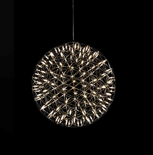IAWlight Stainless Steel Metal LED Pendant Lamp Hanging Ceiling Lamp Shade Globe Living Room Kitchen Dining Room Bedroom Cafe Restaurant Bar Decoration Warm White