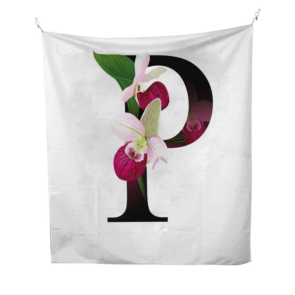 Letter Poutdoor tapestryLady Slipper Flower with Dark Colored Letter P from Alphabet ABC Print 70W x 84L inch Ceiling tapestryMagenta Black Green