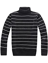 Men's Basic Sweater Turtle Neck Stripe Chenille Pullover