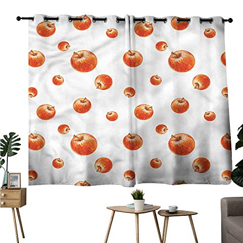 - Diycon Classical Curtain Apple Watercolor Cameo Fruits Durable W55 xL39 Suitable for Bedroom Living Room Study,etc