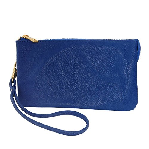 Humble Chic Vegan Leather Wristlet Wallet Clutch Bag - Small Phone Purse Handbag, Royal Blue, Cobalt by Humble Chic NY