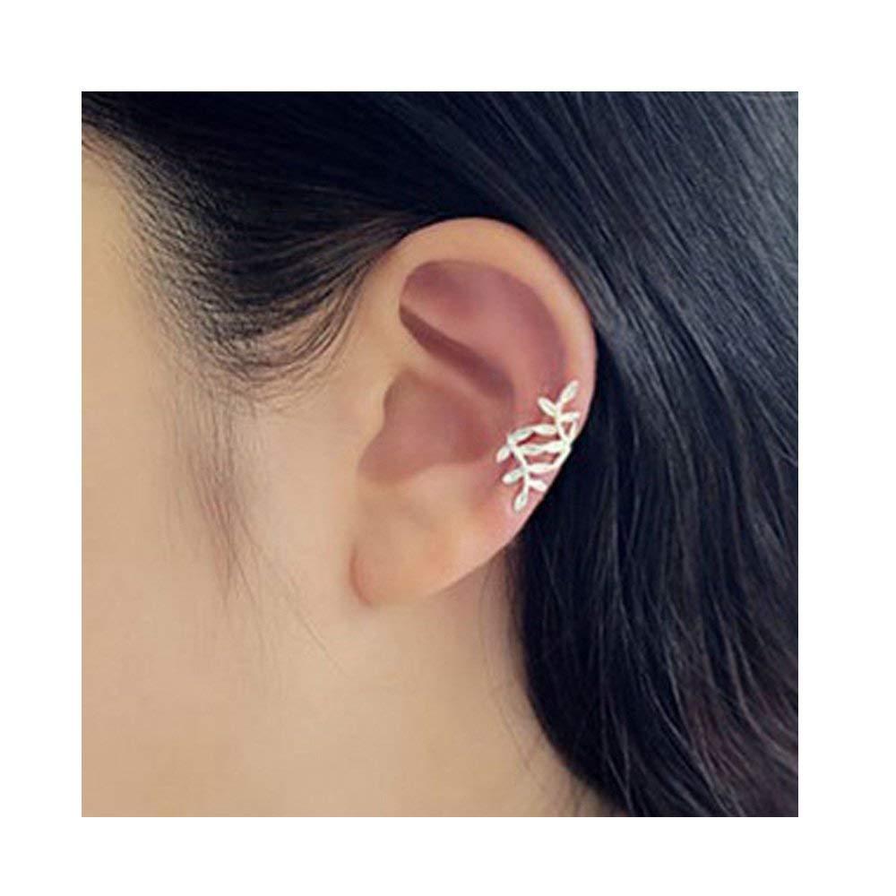 1 Pcs Women Girls Punk Rock Retro Earring Gold Silver Plated Leaf Ear Cuff Warp Clip Ear Stud