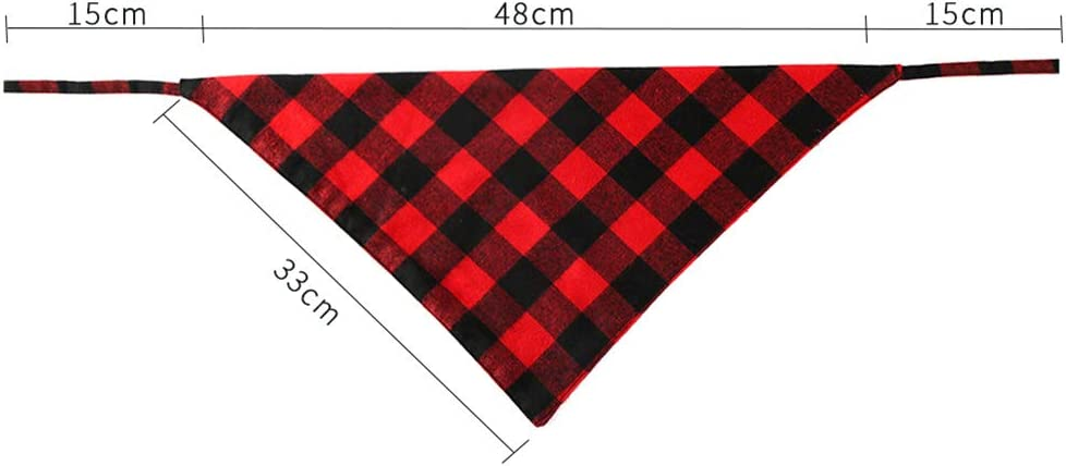 N//A New Cotton Plaid Printing Scarf Lacing Saliva Towel for Cat Dog Wear Red and Black Plaid 333348cm