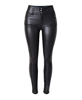 Stretch Hose breiter Kunstleder Jeggings Treggings Leggings Röhre Stoff Leggins
