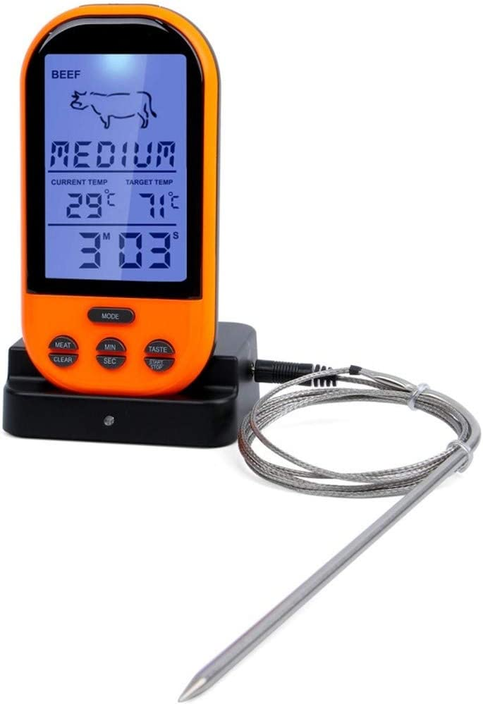 Wireless Meat Thermometer, Oven Thermometer, Barbecue Thermometer, Digital Instant Read Thermometer With Waterproof Probe For Kitchen Cooking, Poultry, BBQ, Grill, Foldable (Size : Orange)
