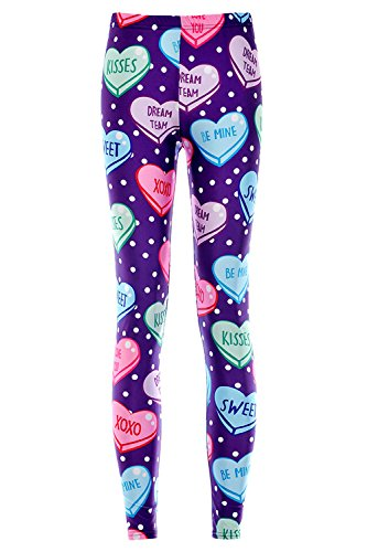 Hot Lady Queen Women's Basic Loving Heart Print Stretch Skinny Leggings Pants for cheap