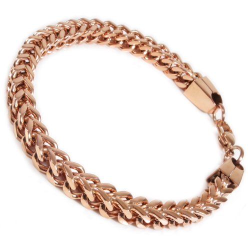 Chain Gold Franco Bracelet (Stainless Steel Rose Gold Color Square Franco Chain Men Bracelet 6mm 8.5