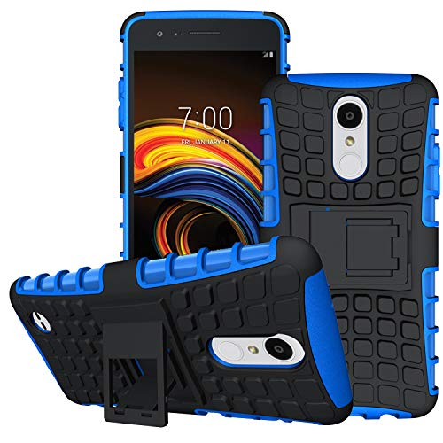 (LG Aristo 3/LG Aristo 2/LG Tribute Empire/K8S/Tribute Dynasty/Phoenix 4/Zone 4/Rebel 4 LTE/K8+ Plus/Risio 3/Phoenix 3/Fortune 2/Rebel 3 Phone Case,OEAGO Tough Rugged Dual Layer Case Kickstand, Blue )