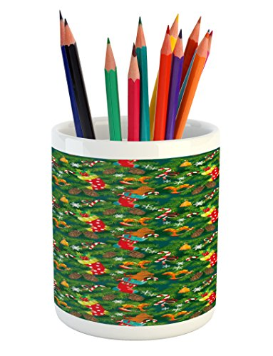 Ambesonne Christmas Pencil Pen Holder, Xmas Accessories Stoc