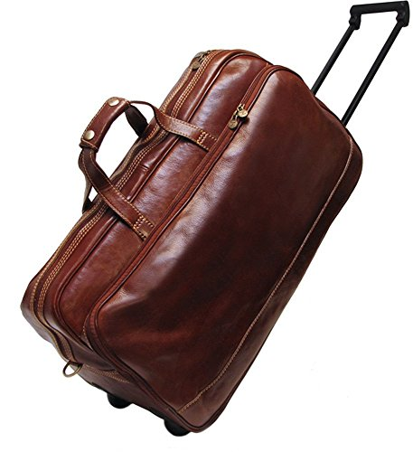 Floto Milano Trolley Small, Leather Rolling Carry on Duffel Bag in Vecchio Brown ()