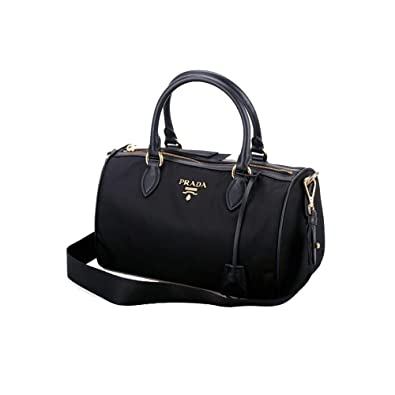 Image Unavailable. Image not available for. Color  Prada Women s Bauletto  Baguettes Nylon and Leather Black Handbag ... 1981a9cf25